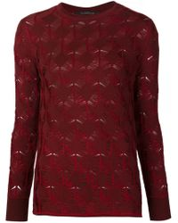 Thakoon - Red Lace Knit Sweater - Lyst