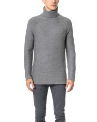 Helmut Lang | Gray Soft Grid Turtleneck Pullover for Men | Lyst