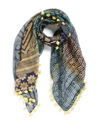La Fiorentina - Yellow Mixed Print Cotton & Silk Scarf - Lyst