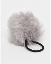 Pieces | Gray Veri Faux Fur Pom Hairband | Lyst