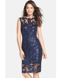 Tadashi Shoji | Blue Sequin-Embroidered Lace Dress | Lyst