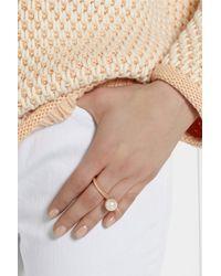 Ryan Storer - Pink Rose Gold-plated Swarovski Pearl Two-finger Ring - Lyst