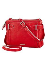 Lauren by Ralph Lauren - Red Gladstone Leather Double-Zip Crossbody Bag - Lyst