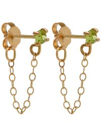 Melissa Joy Manning | Metallic Gold And Peridot Chain Stud Earrings | Lyst