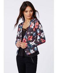 afeb376af77e23 Lyst - Missguided Kirissa Floral Tailored Scuba Blazer