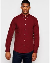 ASOS | Smart Shirt In Red With Button Down Collar And Long Sleeve for Men | Lyst