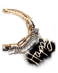 Venna | Metallic 'Happy' Slogan Fur Pendant Multi Chain Necklace | Lyst