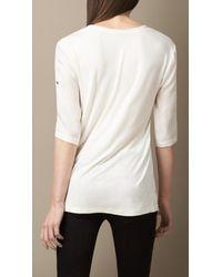 Burberry - White Silk Twill Tshirt - Lyst