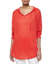 Eileen Fisher - Red Organic Linen Hooded Top - Lyst