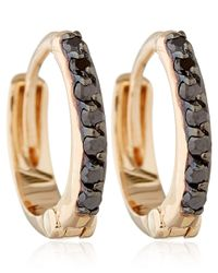 Kismet by Milka | Pink Rose Gold And Black Diamond Mini Hoops | Lyst