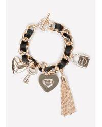 Bebe | Black Logo Charm Bracelet | Lyst