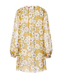 Giamba | Yellow Floral Silk Georgette Dress With Smocked Shoulders | Lyst