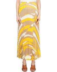 Max Mara - Natural Abstract-print Pleated Woven Skirt - Lyst