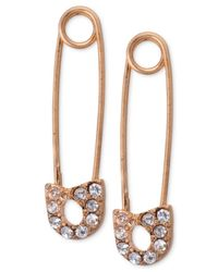 RACHEL Rachel Roy - Pink Rose Gold-Tone Crystal Safety Pin Earrings - Lyst
