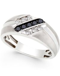Macy's | Metallic Men's Black And White Diamond Ring In Sterling Silver (1/2 Ct. T.w.) for Men | Lyst