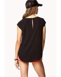 Forever 21 - Black Contemporary Cap Sleeve Chiffon Top - Lyst