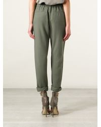 Pinko - Green Cropped Trousers - Lyst