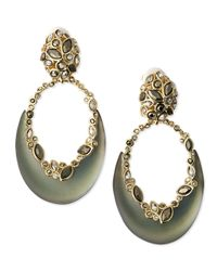 Alexis Bittar | Gray Lucite Crescent & Crystal Earrings | Lyst
