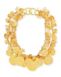 Kenneth Jay Lane | Metallic 2-row Citrine Glass & Golden Disc Necklace | Lyst
