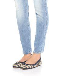 Yosi Samra - Blue Sandrine Striped Jute Flats - Lyst