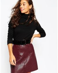 ASOS - Metallic Wide Faux Suede Waist Belt With Double Prong Buckle - Lyst