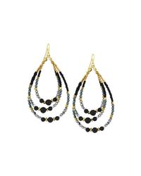 Nakamol | Black Golden Beaded Three-tier Drop Earrings | Lyst