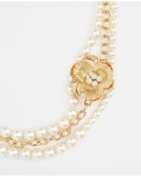 Ann Taylor - Metallic Pearlized Floral Brooch Necklace - Lyst