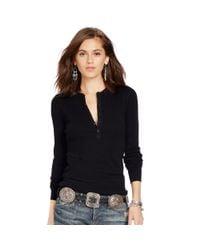 Polo Ralph Lauren | Black Cotton Long-sleeved Henley | Lyst