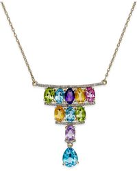 Macy's | Metallic Multi-stone (4 Ct. T.w.) And Diamond (1/5 Ct. T.w.) Deco Necklace In 14k Gold | Lyst