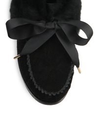 Tory Burch - Black Aberdeen Fur-trimmed Suede Slippers - Lyst