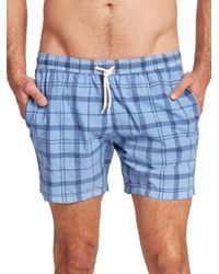 Barbour | Blue John Plaid Swim Trunks for Men | Lyst
