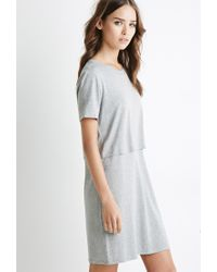 Forever 21 - Gray Layered Cutout T-shirt Dress - Lyst