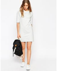 ASOS | Gray Stripe Tunic Dress | Lyst