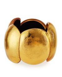 Viktoria Hayman - Metallic Gold Foil Oval Stretch Cuff Bracelet - Lyst
