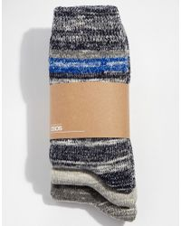 ASOS | Blue Boot Socks 3 Pack With Stripes | Lyst