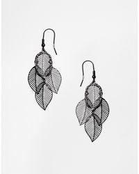 ASOS | Black Leaf Earrings | Lyst