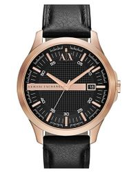 Armani Exchange | Pink Leather Strap Watch for Men | Lyst