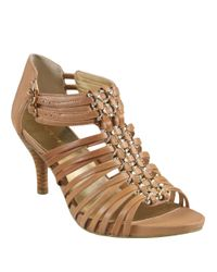 Nine West | Natural Bodyrock Leather Heeled Sandals | Lyst