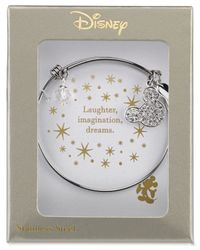 Disney - Metallic Mickey Mouse Crystal Charm Bracelet In Stainless Steel With Silver-plated Charms - Lyst