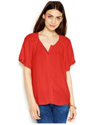 Maison Jules - Red Flutter-Sleeve Tie-Front Blouse - Lyst