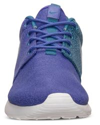 Nike - Blue Women'S Roshe Run Print Casual Sneakers From Finish Line - Lyst