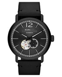 Marc By Marc Jacobs - Black 'fergus' Leather Strap Watch for Men - Lyst
