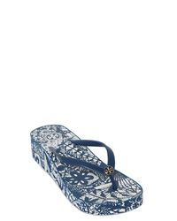 Tory Burch | Blue Crystal-embellished Leather Ballerina Flats | Lyst