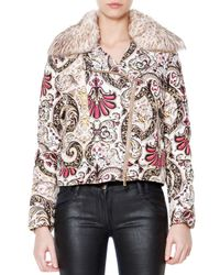 Just Cavalli | Multicolor Fur Collar Scroll-print Puffer Coat | Lyst