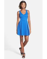 Soprano - Blue Textured Skater Dress - Lyst