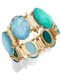 Style & Co. | Style&co. Gold-tone Blue Green Oval Foil Bracelet | Lyst