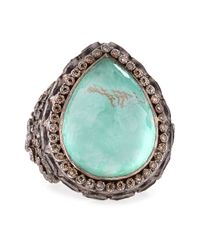 Armenta | Metallic New World Large Pear Green Turquoise Ring | Lyst