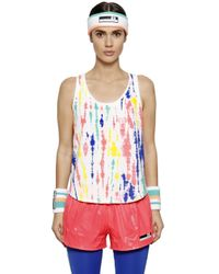 Adidas By Stella McCartney - Multicolor Tie Dyed Printed Jersey & Mesh Tank Top - Lyst