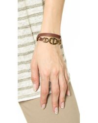 Michael Kors | Metallic Maritime 3 Link Double Wrap Leather Bracelet - Gold/Luggage | Lyst