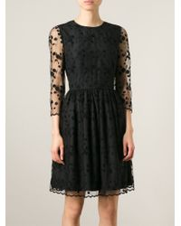 RED Valentino - Black Sheer Lace Panelled Dress - Lyst